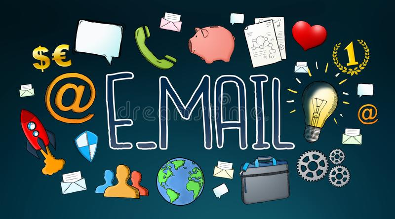 Manuscript e-mail contact text with icons royalty free illustration
