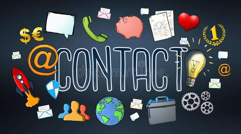 Manuscript e-mail contact text with icons vector illustration