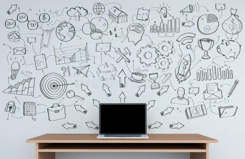 Manuscript project presentation written on a grey wall over desk vector illustration