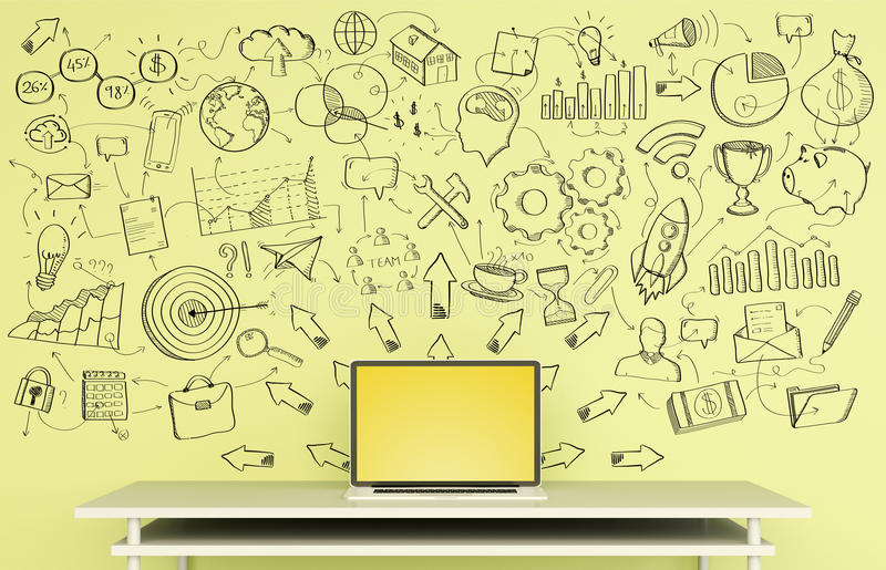Manuscript project presentation written on a yellow wall over de vector illustration