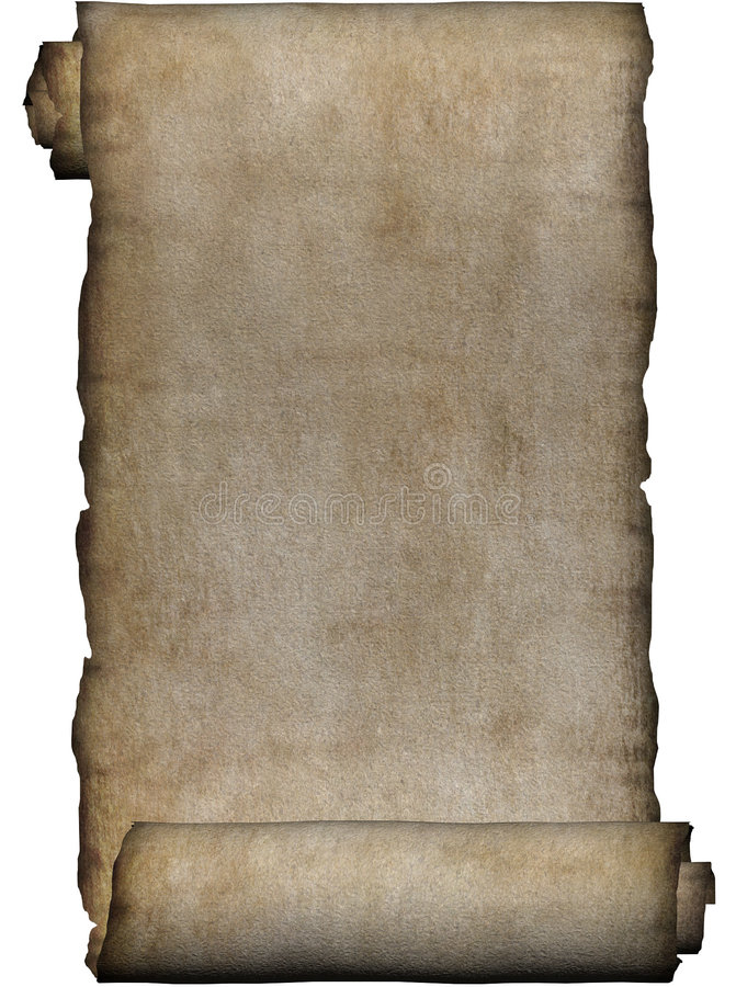 Manuscript, rough roll of parchment royalty free illustration
