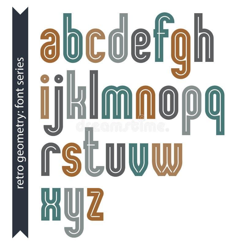 Manuscrit dactylographié coloré élégant de vecteur, rétros lettres illustration de vecteur