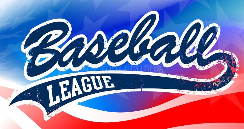 Manuscrit de base-ball sur un fond de drapeau américain illustration stock