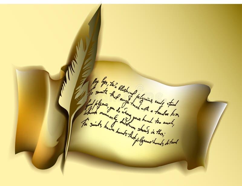 Manuscrito com pena fotografia de stock royalty free