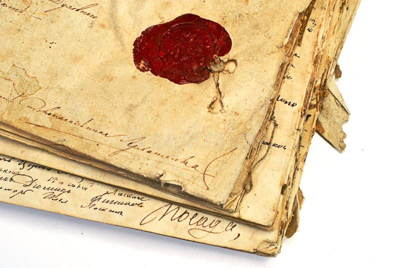 Manuscrito con el sello de la cera fotografía de archivo libre de regalías