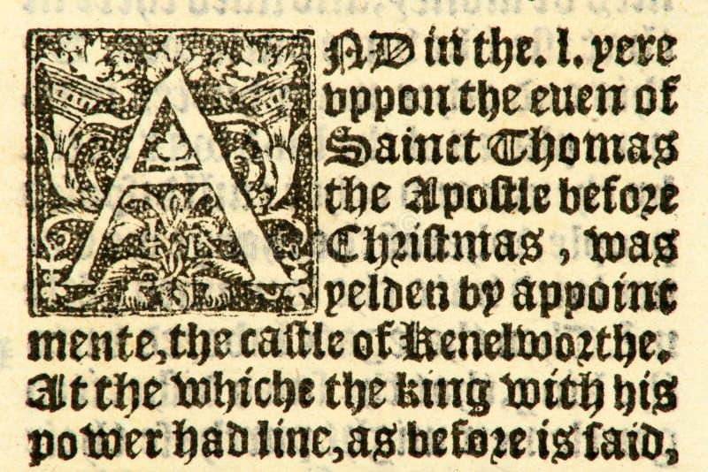 Manuscrito datado 1533. imagem de stock royalty free