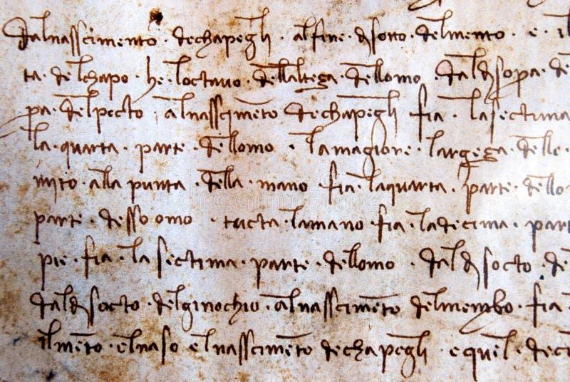 Manuscrito de Leonardo Da Vinci foto de archivo libre de regalías