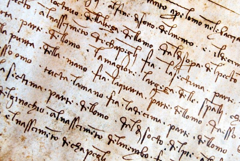 Manuscrito de Leonardo Da Vinci foto de archivo