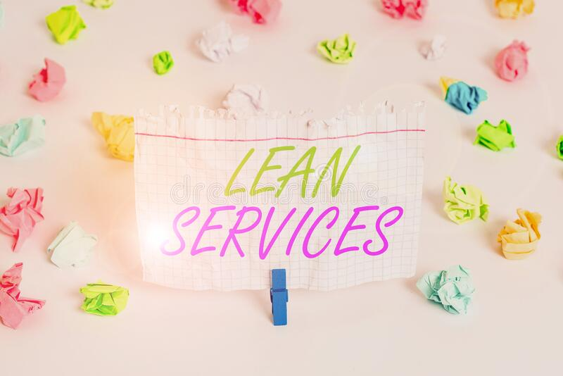 Manuscrito escrevendo texto Lean Services Conceito que significa a aplicação do conceito de produção magra a operações coloridas imagem de stock royalty free