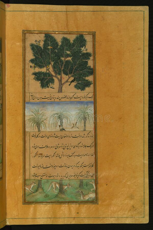 Manuscrito iluminado do Baburnamah, Walters Art Museum Ms W 596, fol 28b fotos de stock