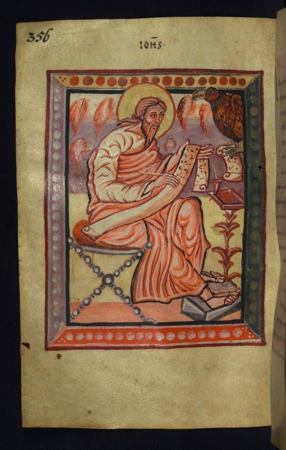 Manuscrito iluminado, gospéis de Freising, evangelista Portrait de John, Walters Art Museum Ms W 4, fol 178v imagens de stock royalty free