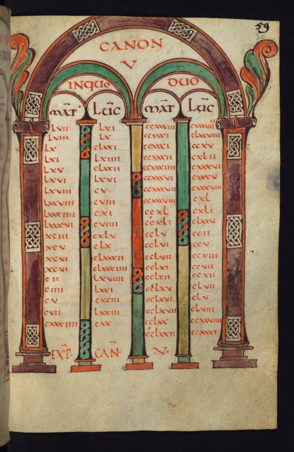 Manuscrito iluminado, gospéis de Freising, tabelas de Canon, Walters Art Museum Ms W 4, fol 30r imagens de stock