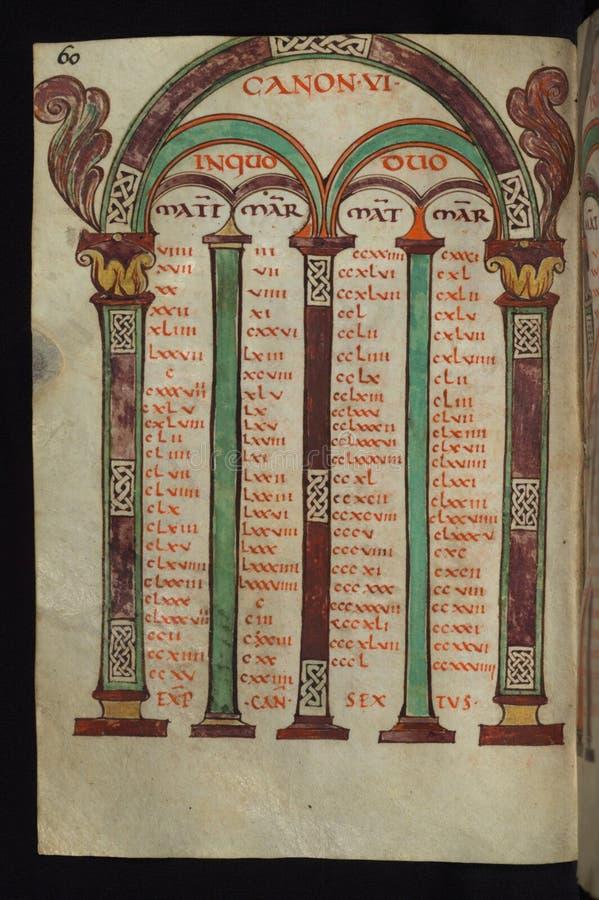 Manuscrito iluminado, gospéis de Freising, tabelas de Canon, Walters Art Museum Ms W 4, fol 30v imagens de stock royalty free