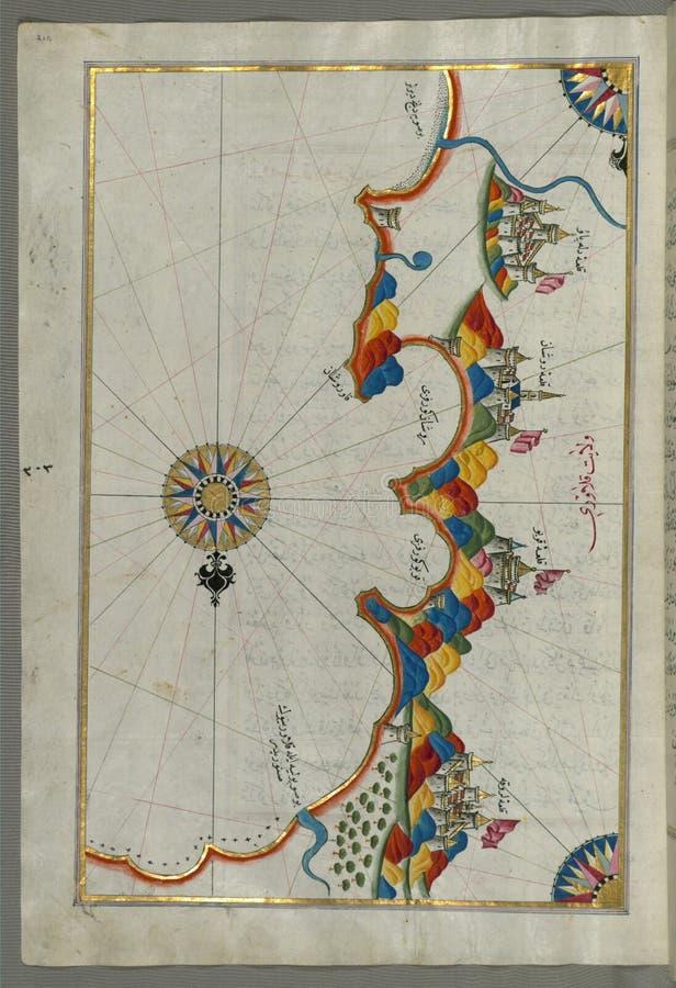 Manuscrito iluminado, mapa da costa oriental de Calabria em torno de Rossano do livro na navegação, Walters Art Museum Ms W 658,  imagens de stock