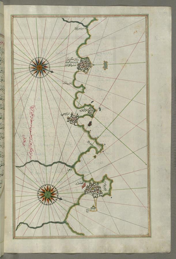 Manuscrito Iluminado, Mapa De La Costa Argelina Alrededor De Argel ( ¾ Ir) Del  Ê De JazÄ; Del Libro En La Navegación, Walte Dominio Público Y Gratuito Cc0 Imagen