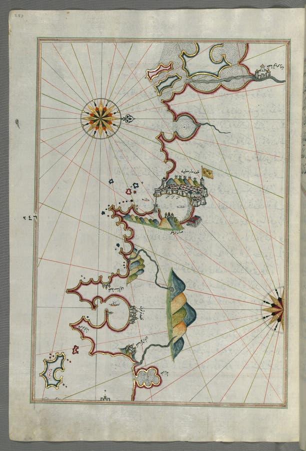 Manuscrito Iluminado, Mapa De La Costa Francesa Alrededor De Marsella (  Rsilye) De MÄ; Del Libro En La Navegación, Walters Dominio Público Y Gratuito Cc0 Imagen