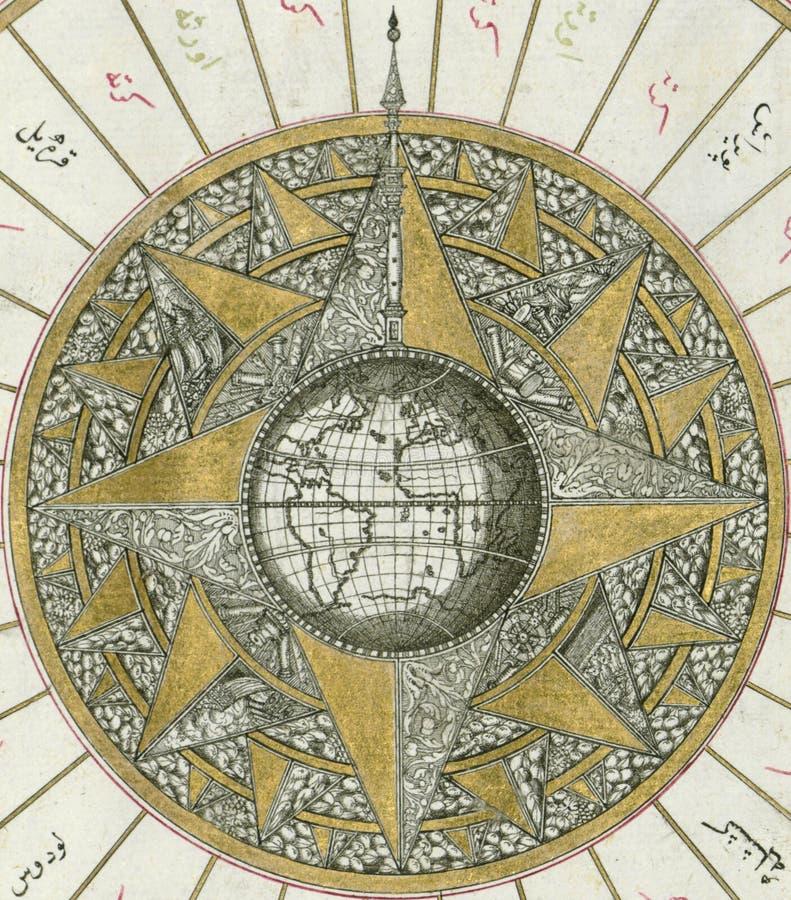 Manuscrito iluminado, mapa do hemisfério ocidental dentro de um windrose, do livro na navegação, Walters Art Museum Ms W 658, fol imagem de stock royalty free