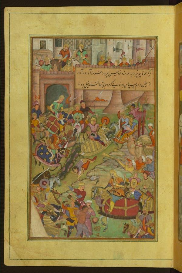 Manuscrito iluminado que descreve a queda de Samarkand de Baburnama, Walters Art Museum, Senhora W 596, fol 24a fotos de stock royalty free