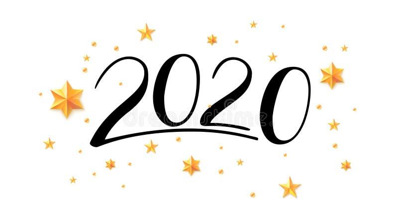 Manuscrito poniendo letras a 2020 N?meros exhaustos de la mano para la tarjeta de felicitaci?n con caligraf?a china La Feliz A?o  libre illustration