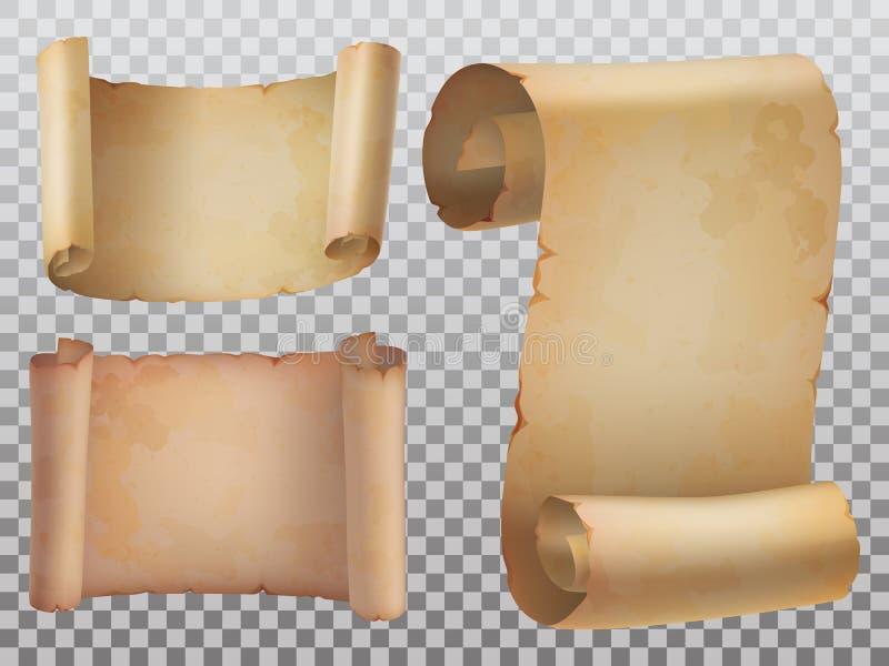 Manuscrito velho isolado ou ícones antigos dos rolos do papel ajustado ilustração do vetor