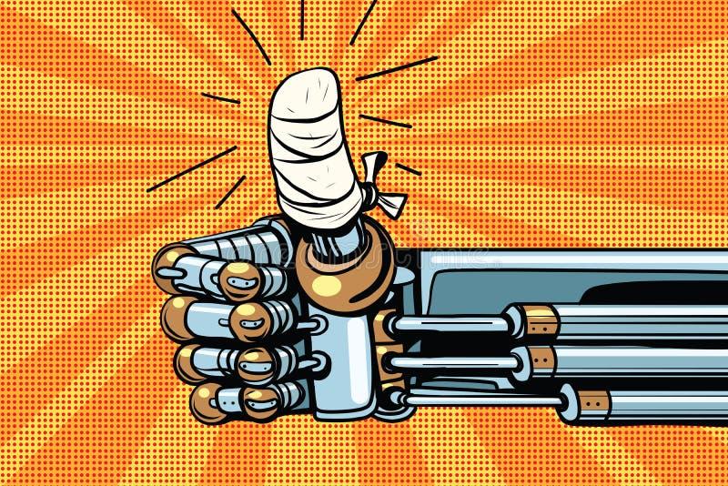 Manuseie acima como o gesto, a mão do robô é enfaixado ilustração royalty free