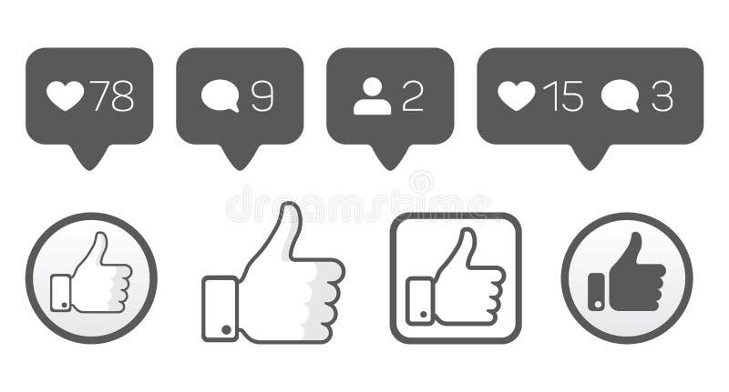 Manuseie acima de, como ícones, o grupo do vetor do comentário do seguidor ilustração stock
