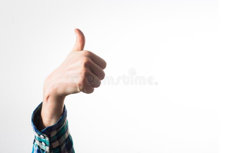 Manuseie acima de um homem, indivíduo, moderno em uma camisa de manta, um homem de negócio, foto de stock