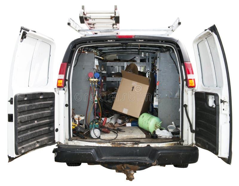 Manusje van alles Utility Truck Van Isolated op Wit stock afbeeldingen