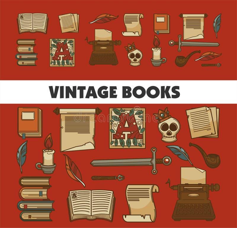 Manuskrypt, historia rocznika książek starzy podręczniki i piórko royalty ilustracja