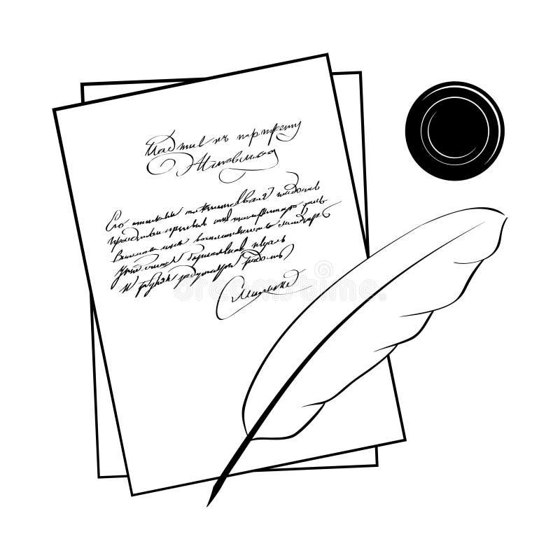 Manuskrypt poeta wektoru ilustracje ilustracji