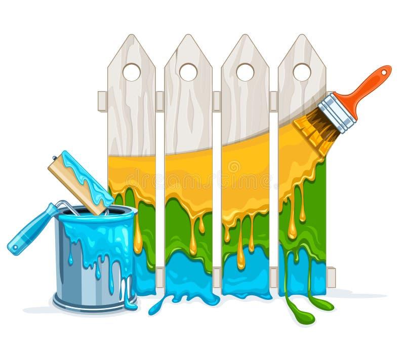 Manutenção branca da pintura da cerca pela pintura da cor pelo rolo da escova com cubeta completa ilustração do vetor