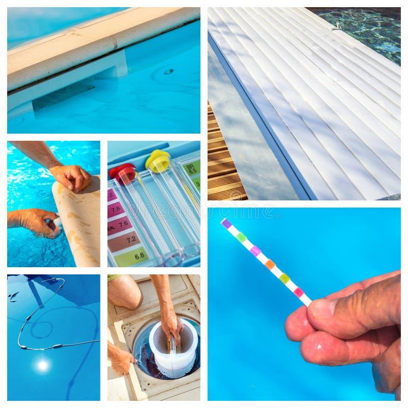 Manutenção da colagem de uma piscina privada foto de stock royalty free