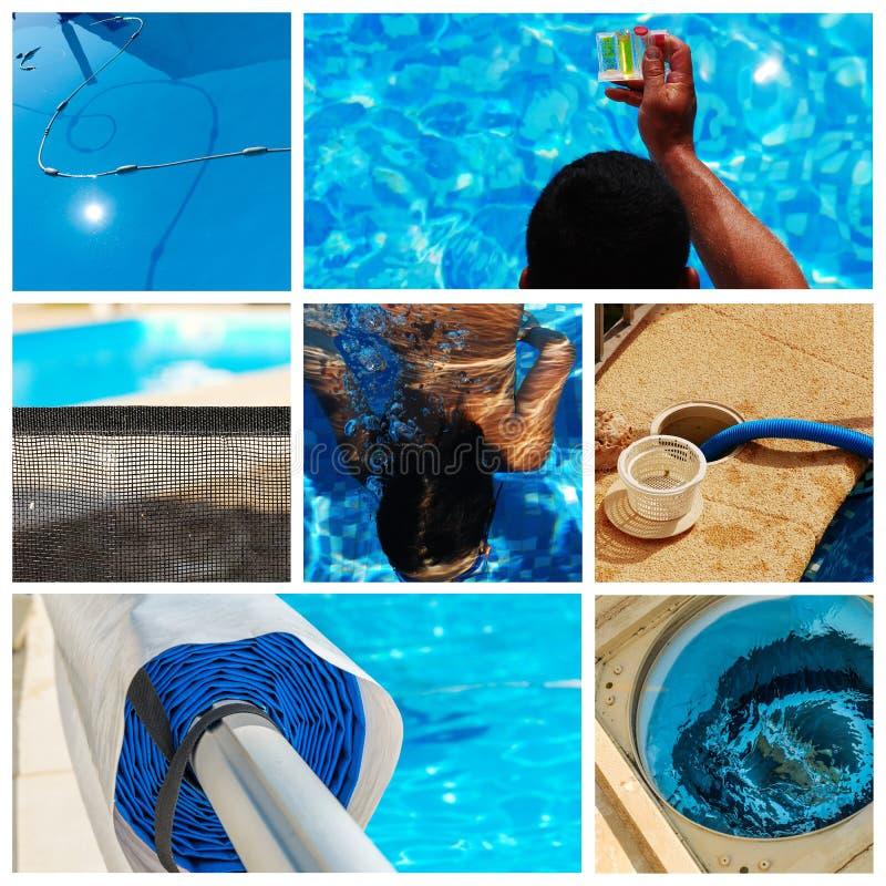 Manutenção da colagem de uma piscina privada fotografia de stock royalty free