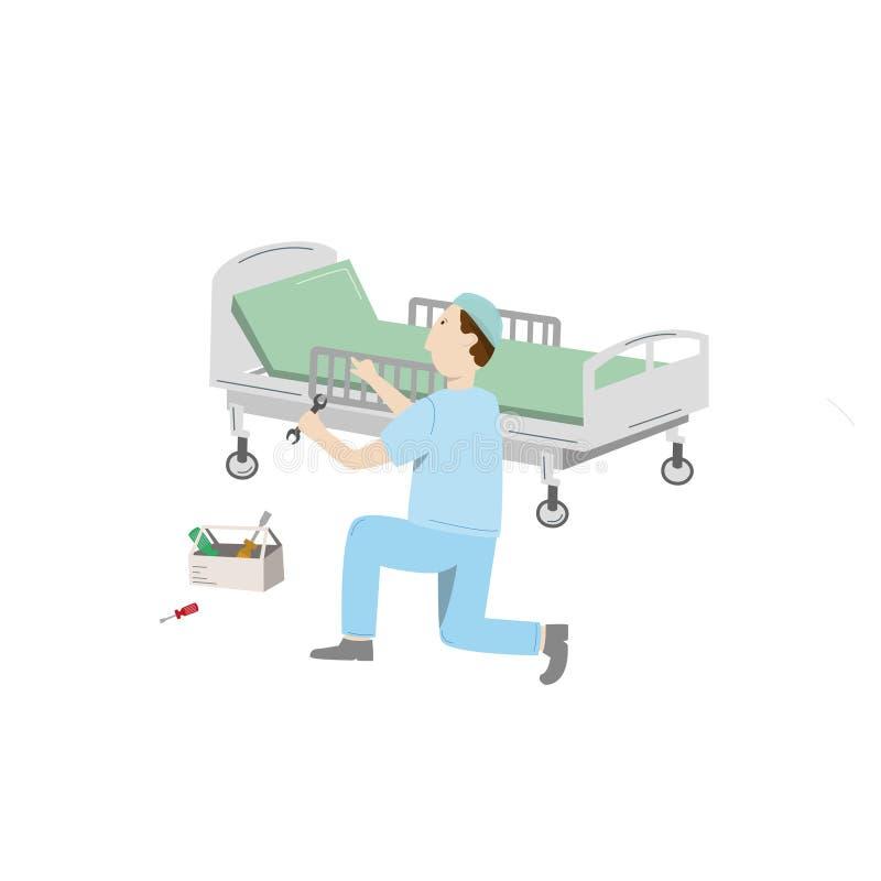 Manutenção de equipamento médico Uma cama de hospital do reparo do técnico Ilustração do vetor isolada no branco ilustração royalty free