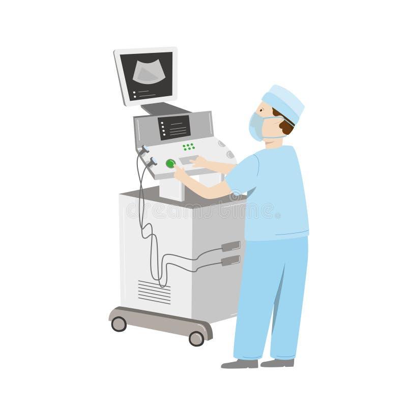 Manutenção de equipamento médico Uma máquina do ultrassom do reparo do coordenador Ilustração do vetor isolada no branco ilustração royalty free