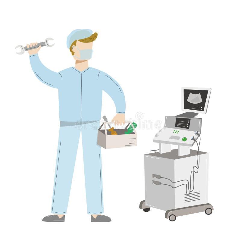 Manutenção de equipamento médico Uma máquina do ultrassom do reparo do coordenador Ilustração do vetor isolada no branco ilustração do vetor