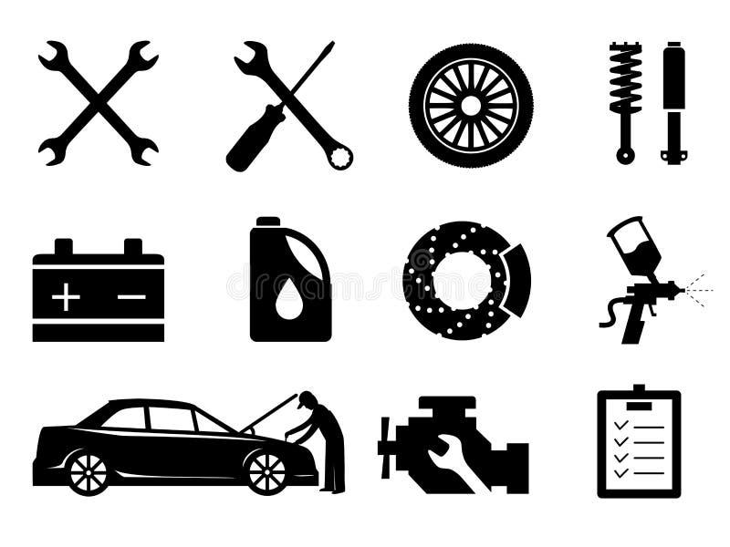 Manutenção do carro e grupo do ícone do reparo, vetor ilustração do vetor