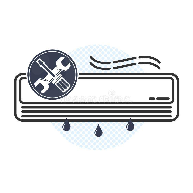Manutenção do condicionamento de ar e vetor do reparo ilustração stock