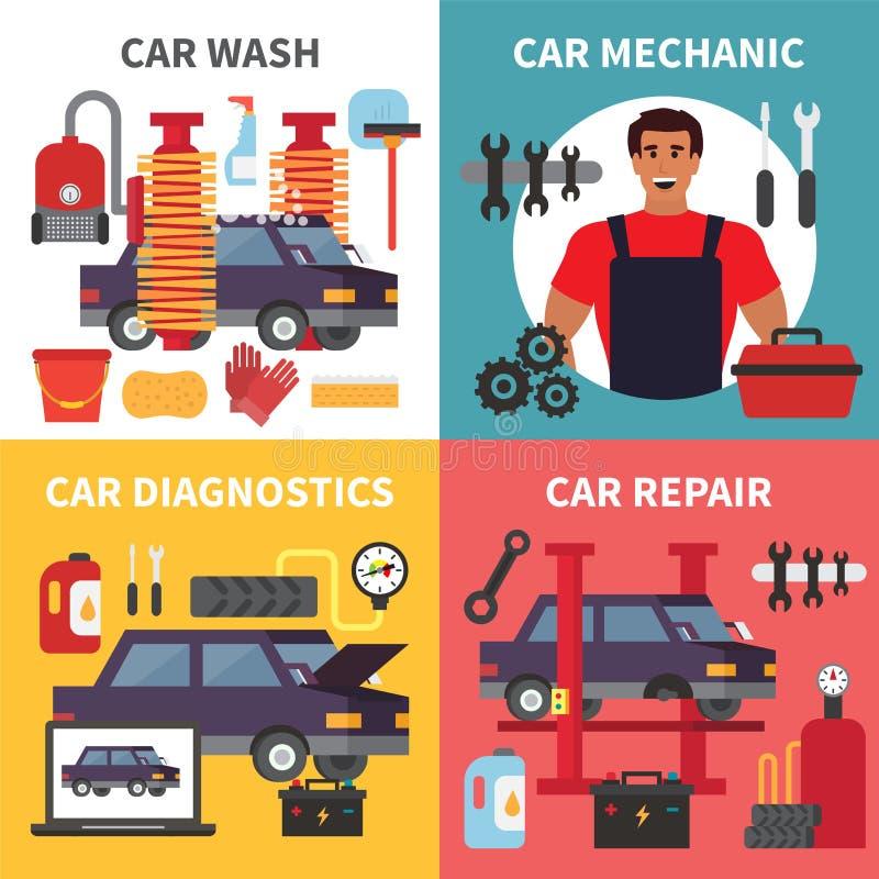 Manutenção do serviço do carro Os auto diagnósticos do transporte, cuidado e reparo do mecânico trabalham Grupo do vetor ilustração stock