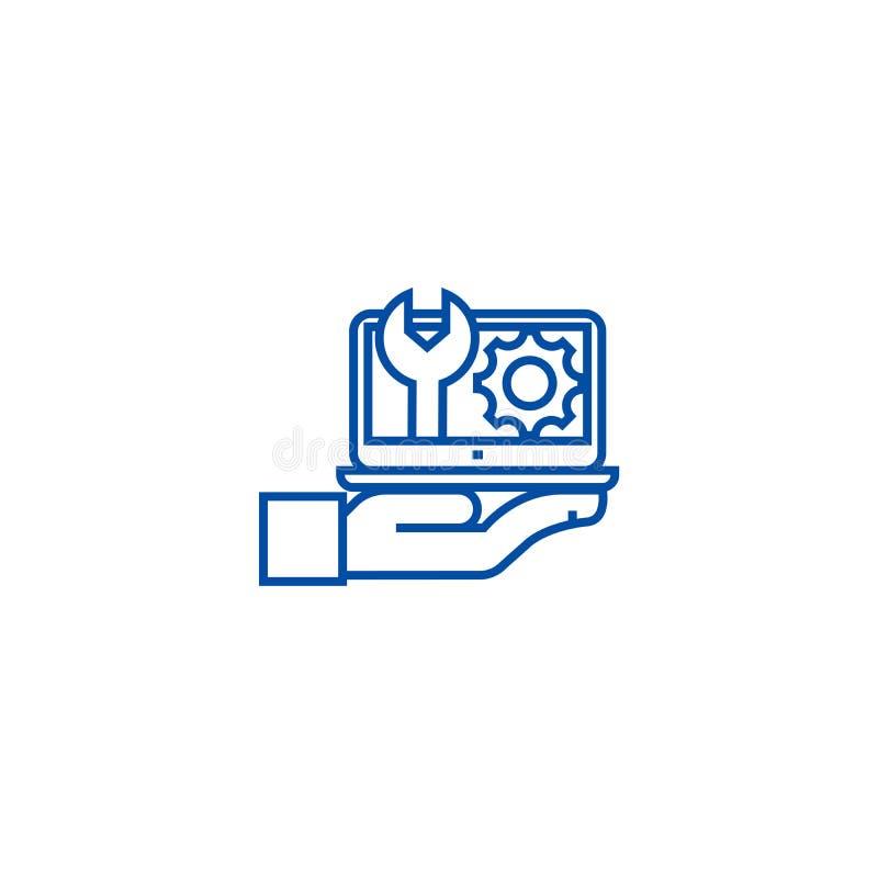 Manutenção, linha de suporte informático conceito do ícone Manutenção, símbolo liso do vetor do suporte informático, sinal, esboç ilustração stock