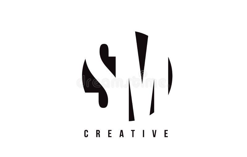Manutenção programada S M White Letter Logo Design com fundo do círculo ilustração do vetor