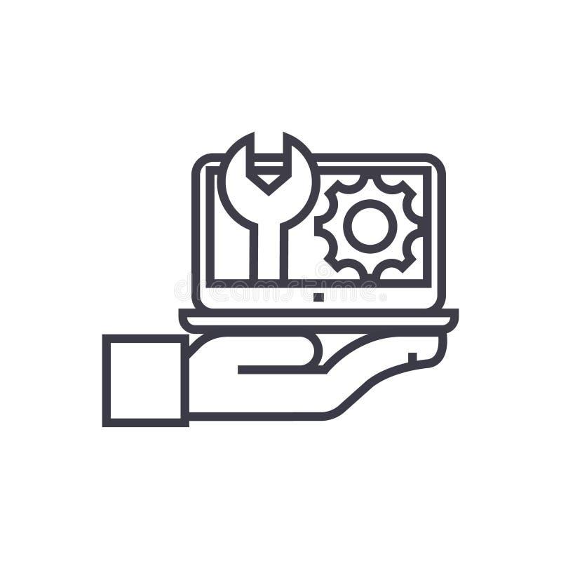 Manutenzione, linea sottile icona, simbolo, segno, illustrazione di vettore di concetto del supporto computer su fondo isolato royalty illustrazione gratis