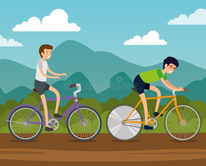 Manvänner rider cykelmedlet stock illustrationer