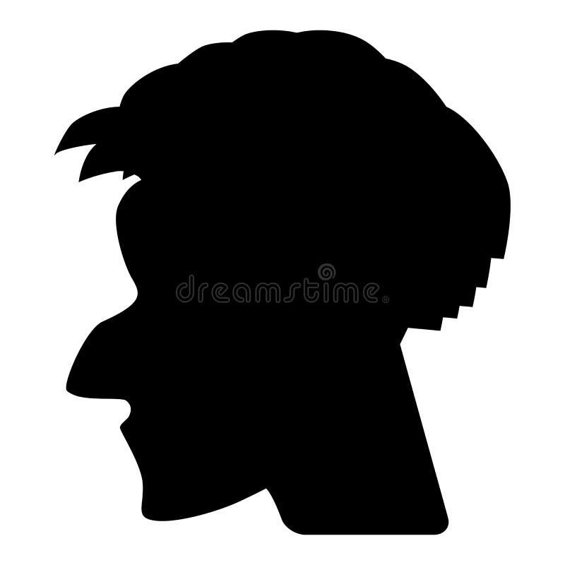 Manvektorprofil eller Cameo Silhouette vektor illustrationer