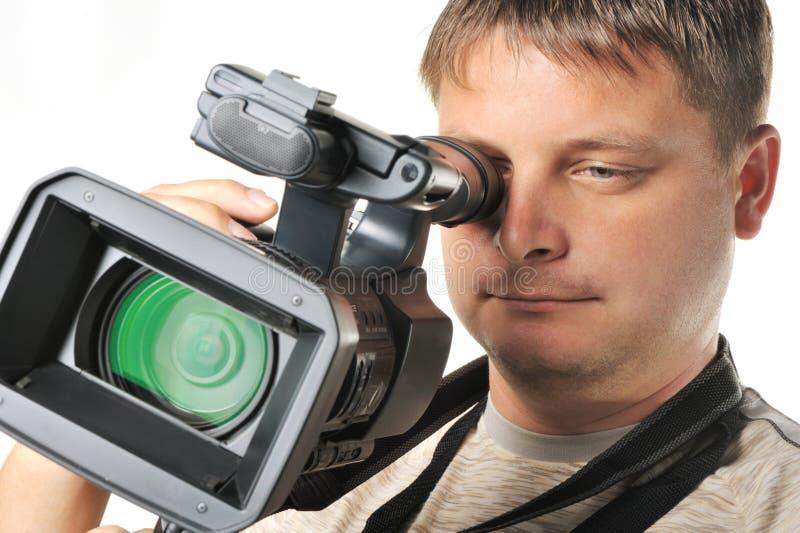 manvideocamera royaltyfri fotografi