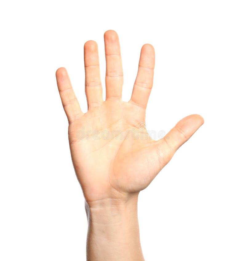 Manvisning nummer fem på vit bakgrund, closeup arkivbild