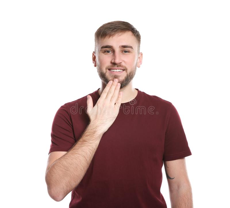 Manvisningen TACKAR DIG gesten i teckenspråk royaltyfri foto