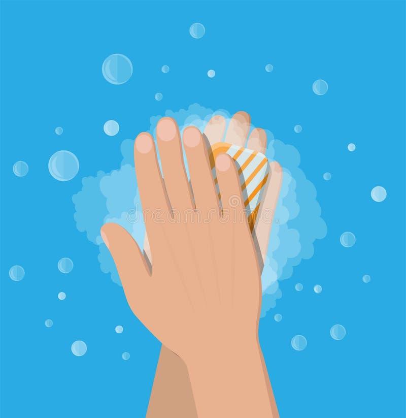 Manwasheshänder med tvål, hygien royaltyfri illustrationer