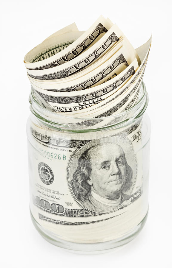Download Many 100 US Dollars Bank Notes In A Glass Jar Stock Images - Image: 14521984