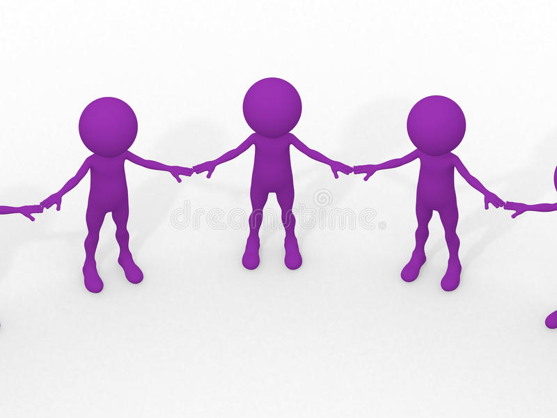 Many 3d humans hand to hand